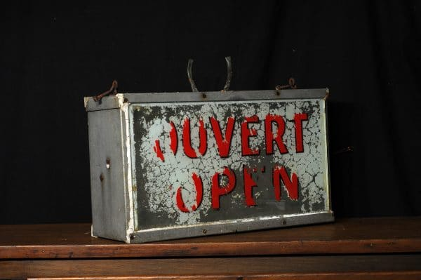 antique sign open