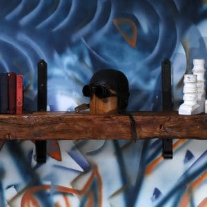 tablette mural bois brute et metal reclaim wood and steel shelf