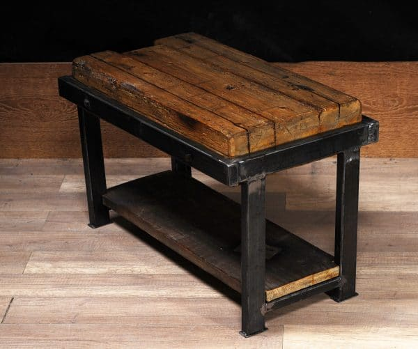 industrial coffee table reclaim wood steel