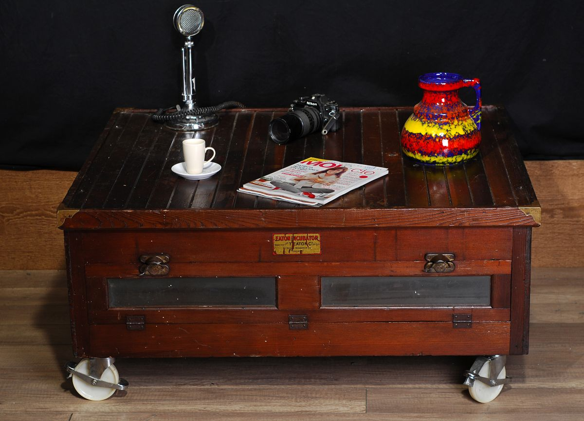 Table de salon industriel antique / antique industrial table   2 ...